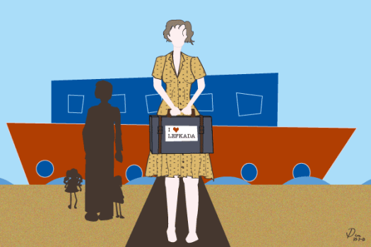 Travel - Image of a woman holding suitcase