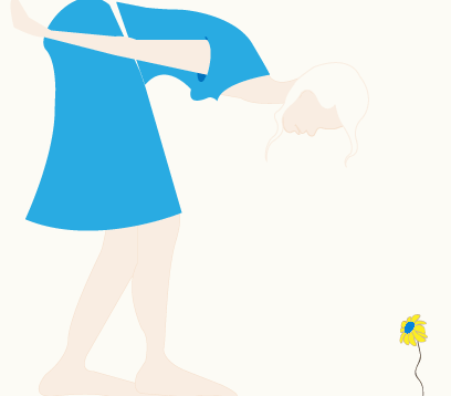 Illustration of a woman leaning forward towards a flower