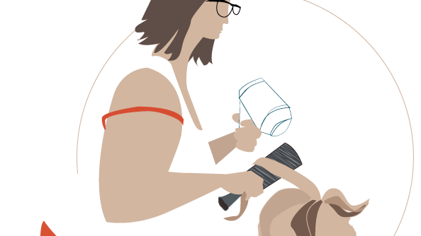 Illustration of woman at the hairdresser